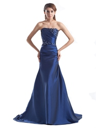 Royal Blue Strapless Taffeta Mermaid Prom Gown With Beaded Embellishment