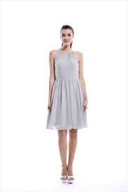 Light Grey A-line Scoop Neck Knee-length Chiffon Bridesmaid Dress