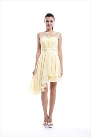 Short Yellow Chiffon Overlay Asymmetric Sheer Illusion Cocktail Dresses