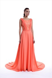 Coral Low Back Floor Length Sleeveless Chiffon Dress With Lace Bodice