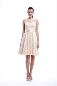 Champagne Knee Length Illusion Neckline Vintage Lace Bridesmaid Dresses