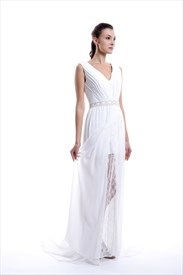 White V neck Sheer Overlay Chiffon Prom Dress With Beaded Detail