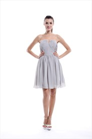 Light Grey Strapless Short Chiffon Bridesmaid Dress With Pleated Bodice