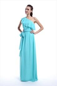 Aqua One Shoulder Chiffon Ruffle Bridesmaid Dress With Cascading Detail