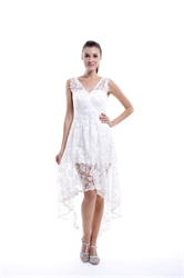 White V Neck Lace Illusion Top Asymmetrical High Low Short Wedding Dress