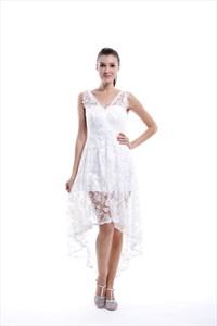 White V Neck Lace Illusion Top Asymmetrical High Low Short Wedding Dress