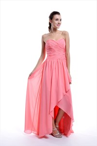 Coral Strapless Crinkle Chiffon Long Bridesmaid Dress With Front Cascade