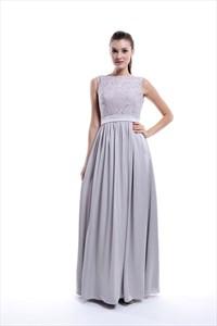 Light Grey Sleeveless Lace Top And Chiffon Bottom Long Bridesmaid Dress