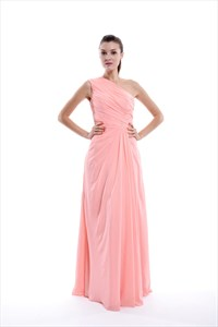 Coral One Shoulder Chiffon Ruched Bodice Bridesmaid Gown With Side Drape