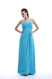 Aqua Chiffon Sweetheart Empire Waist Bridesmaid Dress With Side Drape