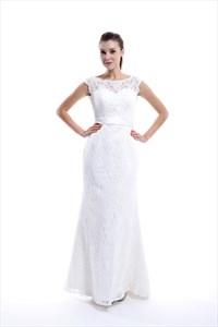 Illusion Bateau Neckline Low Back Mermaid Lace Wedding Dress With Sash