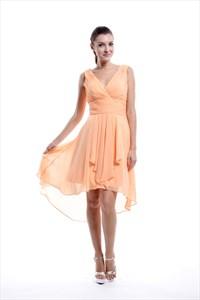 Peach Chiffon High Low Ruched V-Neck Sleeveless Short Bridesmaid Dress