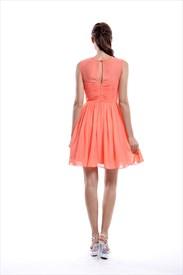 98dbc2898a53 Peach Sheer Illusion High Neck Sleeveless Chiffon Short Bridesmaid Dress