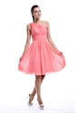Coral One Shoulder Knee Length Pleated Chiffon Short Bridesmaid Dresses