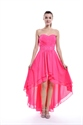 Hot Pink Strapless High Low Chiffon Bridesmaid Dress With Beaded Detail