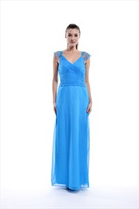 Blue V Neck Chiffon Floor Length Bridesmaid Dress With Lace Cap Sleeves