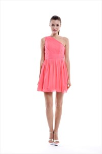 Coral A-line One Shoulder Knee-length Pleated Chiffon Bridesmaid Dress