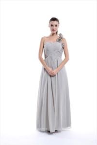 Grey Empire One Shoulder Chiffon Long Bridesmaid Dress With Petal Detail