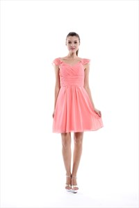 Coral Knee Length Chiffon Ruched Bridesmaid Dresses With Flutter Sleeves