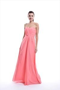 Coral Strapless Sweetheart Chiffon Bridesmaid Dress For Beach Wedding