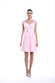Baby Pink Knee Length Lace Cover Chiffon Bridesmaid Dress With Open Back
