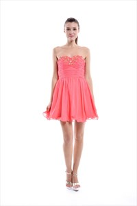 Coral Chiffon Short Embellished Strapless Bridesmaid Dress With Pleating