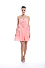 Watermelon Knee Length A-line Sweetheart-neck Chiffon Bridesmaid Dresses