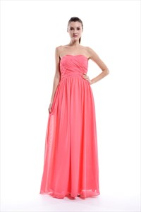 Coral A-Line Floor-Length Chiffon Strapless Ruffle Bridesmaid Dress