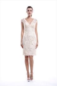 Champagne V-Neck Embellished Short Bridesmaid Dress With Lace Overlay