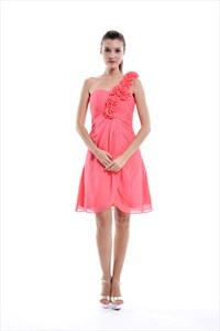 Coral Empire Waist One Shoulder Bridesmaid Dresses With Flower Detail