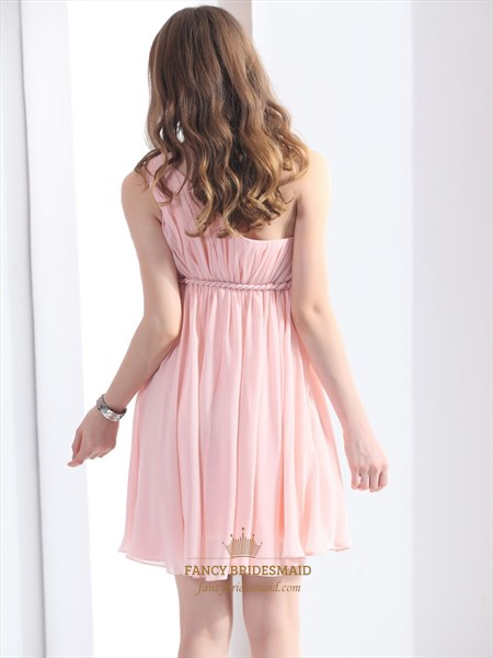Light Pink A-Line One Shoulder Short Chiffon Cocktail Dress With Ruching