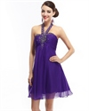 Purple Chiffon Empire Waist Halter Beaded Embellished Homecoming Dress
