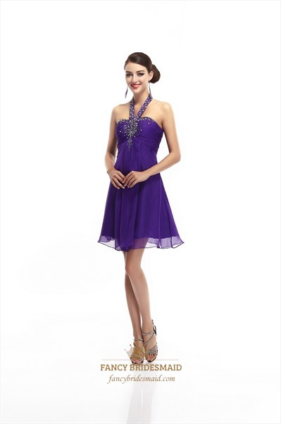 9e50177bfb1 Purple Chiffon Empire Waist Halter Beaded Embellished Homecoming Dress