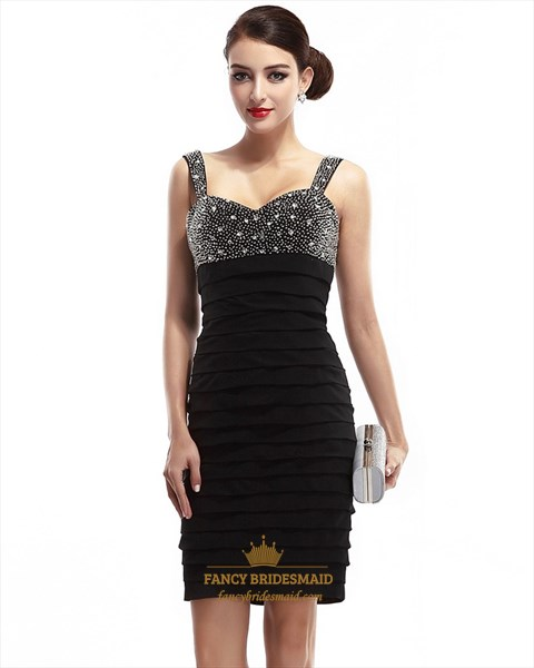 Black Chiffon Open Back Party Dress With Beaded Neckline And Straps