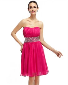 Hot Pink Strapless Cut Out Back Chiffon Cocktail Dress With Beaded Waist