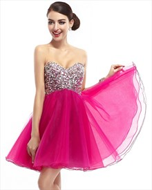 Hot Pink Short Strapless Sweetheart Prom Dress With Embellished Bodice