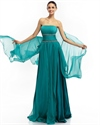Teal Chiffon Strapless Ruffled Skirt Prom Dresses With Beaded Belts