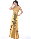Gold Sequin Embellished One Shoulder Prom Dress With Flowers Detail