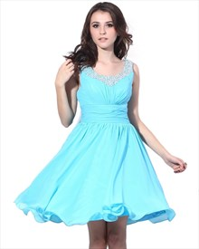 Aqua Blue Short Chiffon Cocktail Dress With Beaded Neckline And Straps