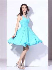 Aqua Blue Short Chiffon Cocktail Dress With Beaded Neckline And Straps