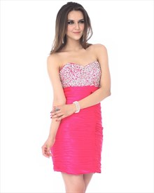 Hot Pink Short Strapless Sweetheart Cocktail Dress With Sequin Bodice