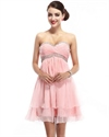 Pink Strapless Short Flowy Chiffon Bridesmaid Dress With Crystal Beading