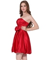 Red Strapless Short Ruched Satin Bubble Cocktail Dress With Bow Tie