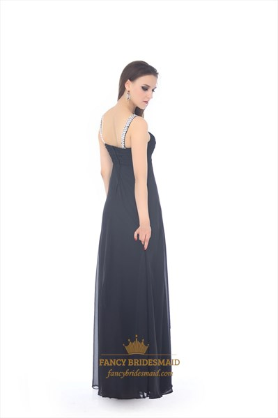 Black Beaded Neckline And Straps Chiffon Dress With Keyhole Detail