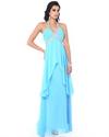Aqua Chiffon Beaded V-Neck Halter Empire Prom Dress With Layered Skirt