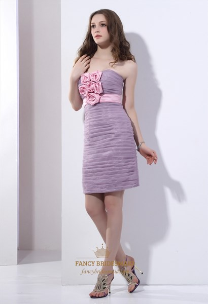 Lavender Short Strapless Organza Party Dress With Floral Embellishment