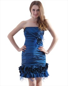 Teal Blue Ruched Short Strapless Party Dress With Flowers And Feathers