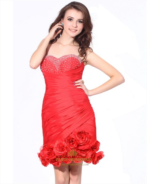 Red Strapless Embellished Side Ruched Sheath Dress With Beaded Bodice