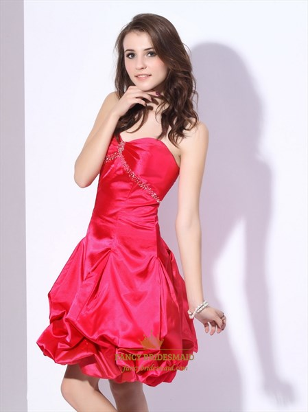 Hot Pink Empire Waist Strapless Taffeta Ruched Dress With Bubble Skirt
