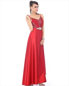 Red V-Neck Floor-Length Spaghetti Strap Prom Dress With Sequin Bodice